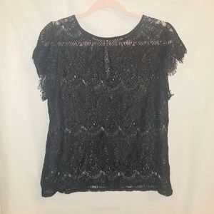 Worthington Sheer Black Lace Top